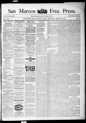 Primary view of object titled 'San Marcos Free Press. (San Marcos, Tex.), Vol. 14, No. 15, Ed. 1 Thursday, March 26, 1885'.