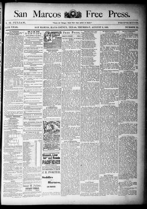 Primary view of object titled 'San Marcos Free Press. (San Marcos, Tex.), Vol. 15TH YEAR, No. 32, Ed. 1 Thursday, August 9, 1888'.