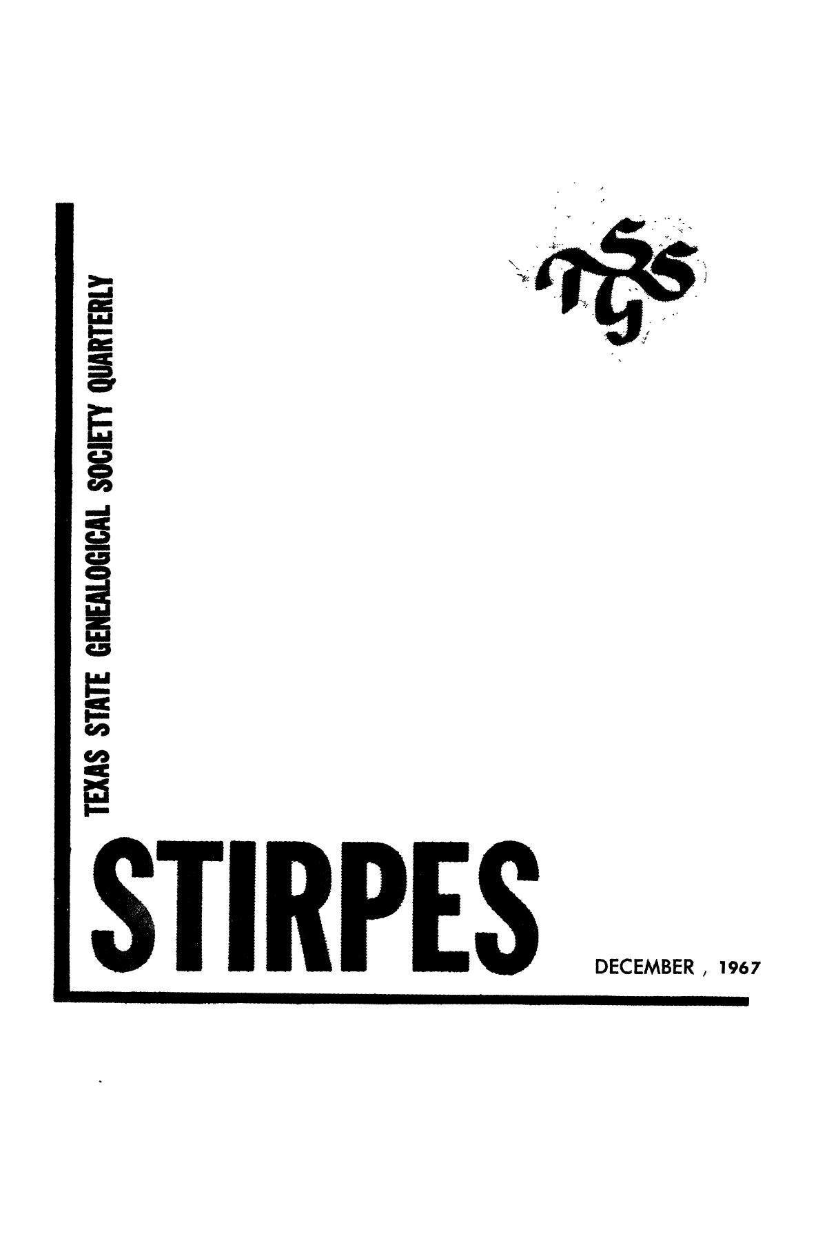Stirpes, Volume 7, Number 4, December 1967                                                                                                      Title Page