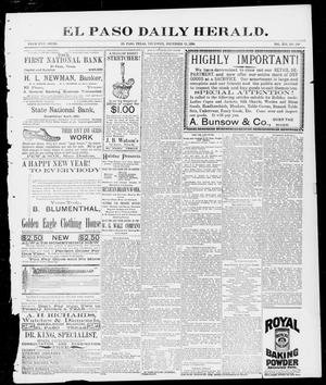 Primary view of object titled 'El Paso Daily Herald. (El Paso, Tex.), Vol. 16, No. 240, Ed. 1 Thursday, December 31, 1896'.