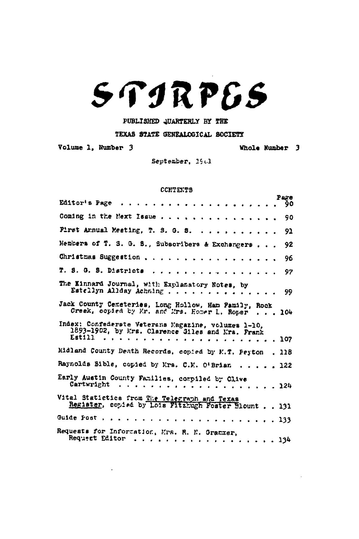 Stirpes, Volume 1, Number 3, September 1961                                                                                                      89