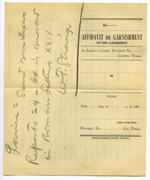 Primary view of object titled '[Affidavit for Garnishment after Judgement]'.