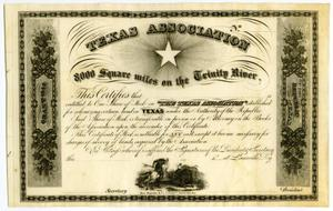 Primary view of object titled '[Texas Association, stock certificate]'.