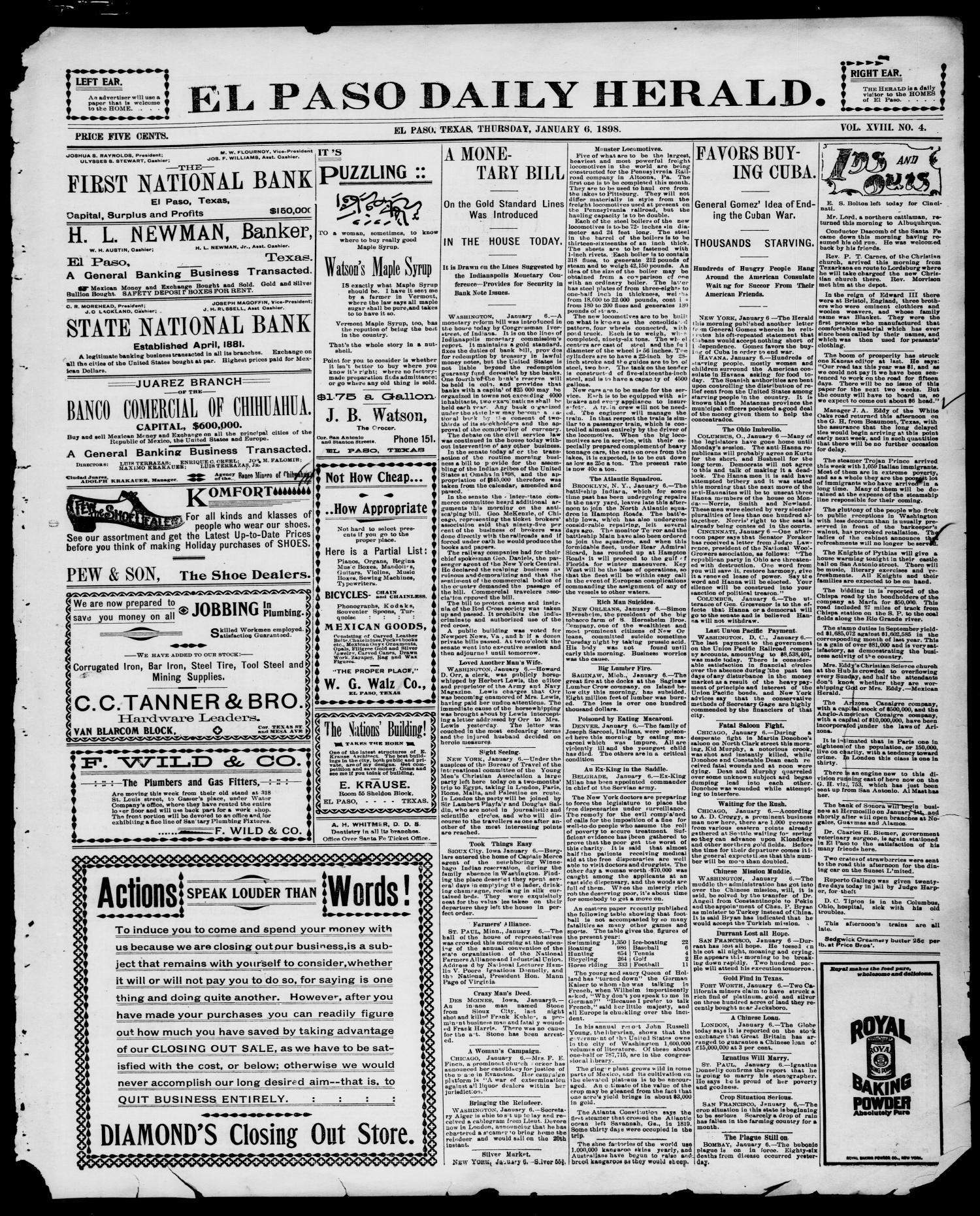 El Paso Daily Herald. (El Paso, Tex.), Vol. 18, No. 4, Ed. 1 Thursday, January 6, 1898                                                                                                      [Sequence #]: 1 of 4