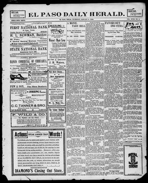 Primary view of object titled 'El Paso Daily Herald. (El Paso, Tex.), Vol. 18, No. 4, Ed. 1 Thursday, January 6, 1898'.