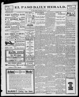 Primary view of object titled 'El Paso Daily Herald. (El Paso, Tex.), Vol. 18, No. 10, Ed. 1 Thursday, January 13, 1898'.