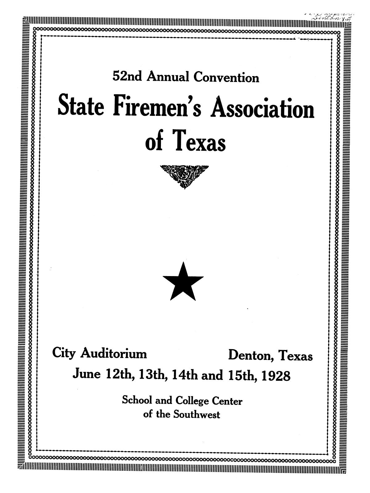 52nd Annual Convention State Firemen's Association of Texas                                                                                                      [Sequence #]: 1 of 51