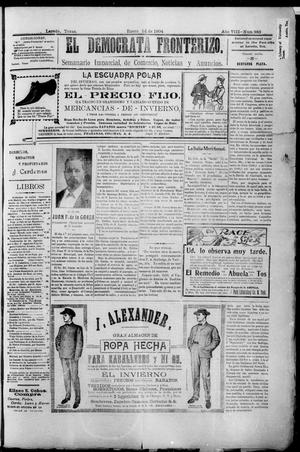 Primary view of object titled 'El Democrata Fronterizo. (Laredo, Tex.), Vol. 8, No. 383, Ed. 1 Thursday, January 14, 1904'.