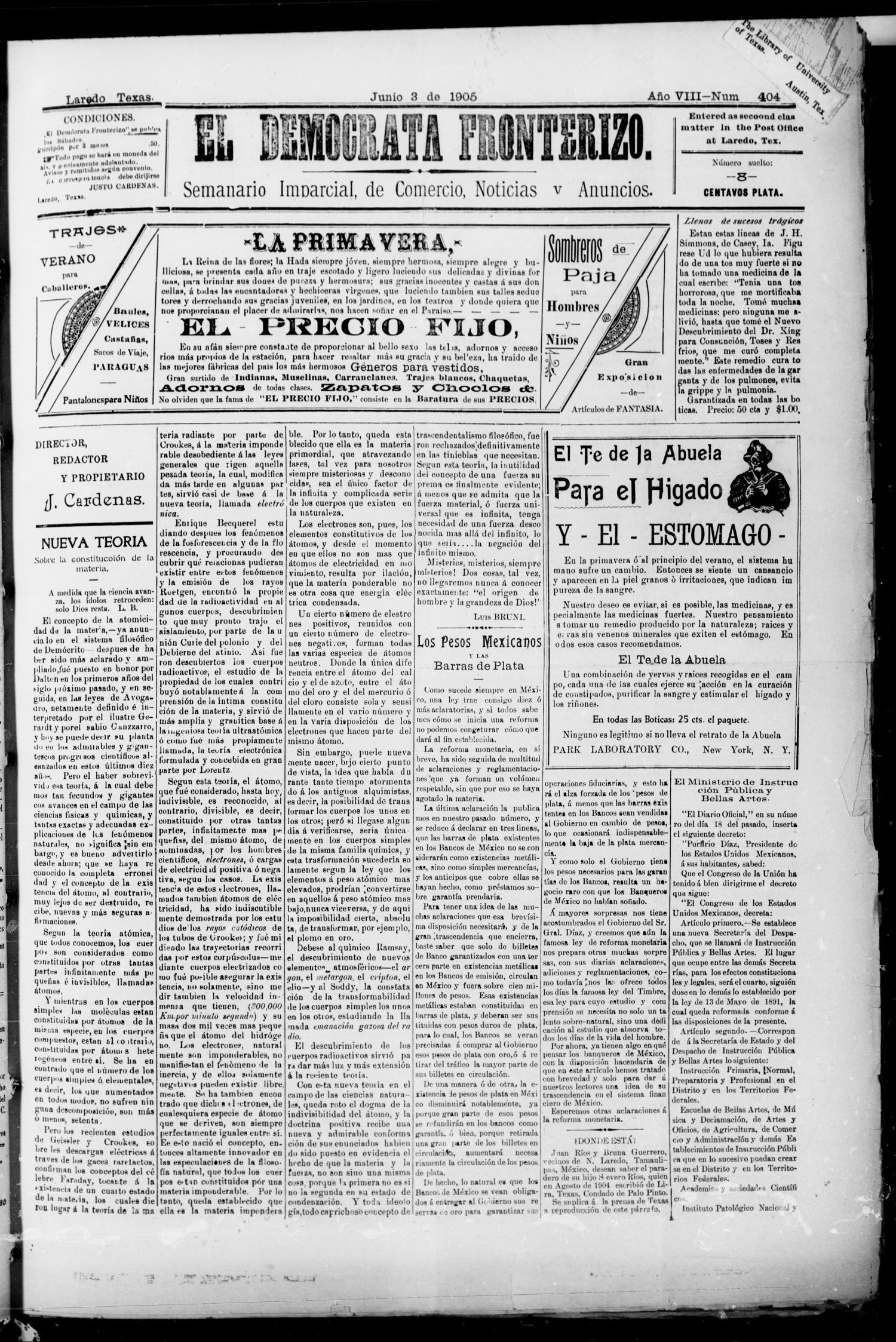 El Democrata Fronterizo Laredo Tex Vol 8 No 404 Ed