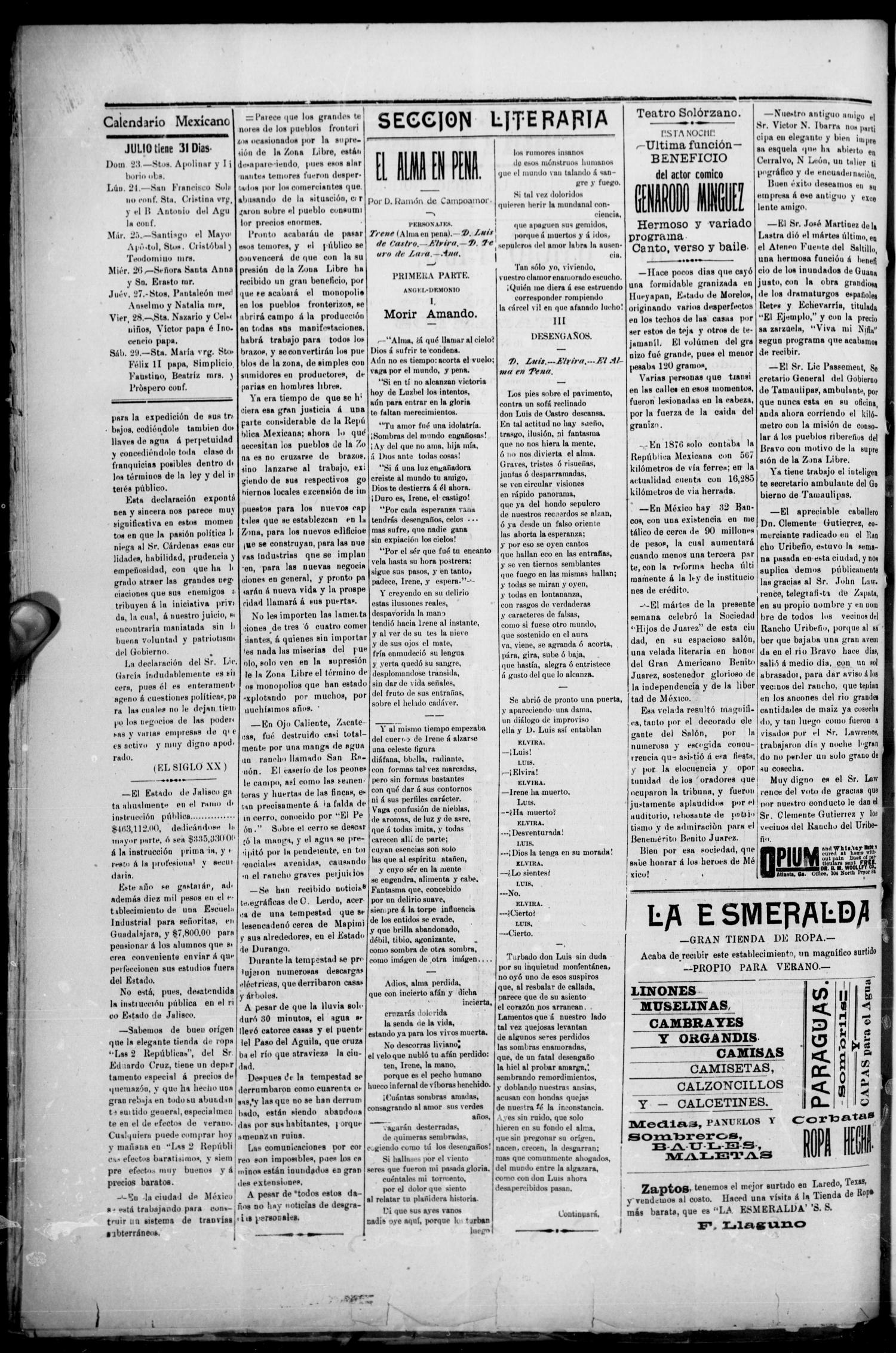 El Democrata Fronterizo. (Laredo, Tex.), Vol. 8, No. 411, Ed. 1 Saturday, July 22, 1905                                                                                                      [Sequence #]: 2 of 4