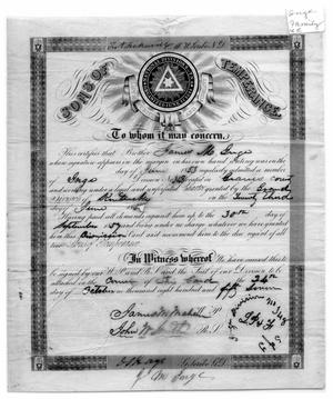 Primary view of object titled 'Certificate of admittance into the Sons of Temperance'.