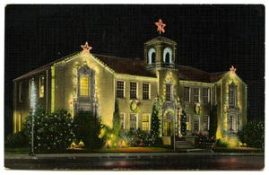 City Hall with Christmas lighting, Denton, Texas