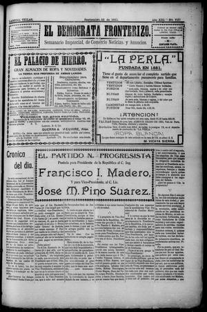 Primary view of object titled 'El Democrata Fronterizo. (Laredo, Tex.), Vol. 13, No. 717, Ed. 1 Saturday, September 23, 1911'.