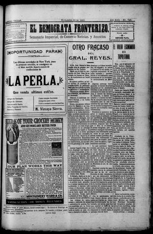 Primary view of object titled 'El Democrata Fronterizo. (Laredo, Tex.), Vol. 13, No. 725, Ed. 1 Saturday, November 25, 1911'.