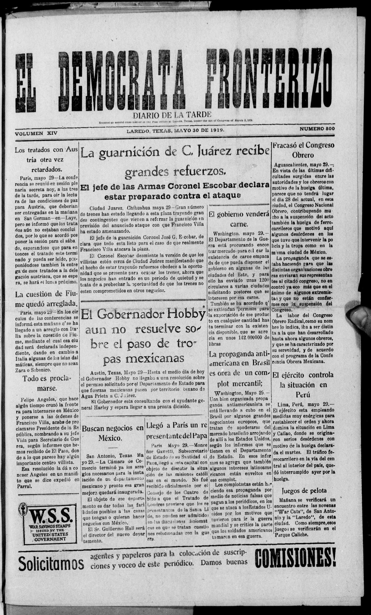 El Democrata Fronterizo. (Laredo, Tex.), Vol. 14, No. 800, Ed. 1 Friday, May 30, 1919                                                                                                      [Sequence #]: 1 of 4