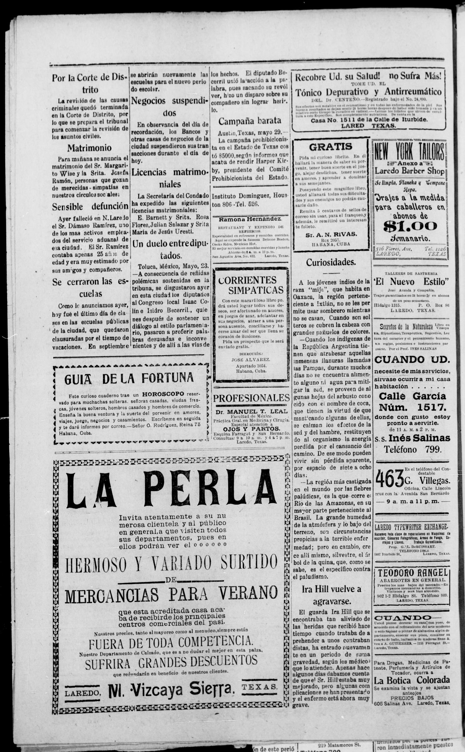 El Democrata Fronterizo. (Laredo, Tex.), Vol. 14, No. 800, Ed. 1 Friday, May 30, 1919                                                                                                      [Sequence #]: 2 of 4