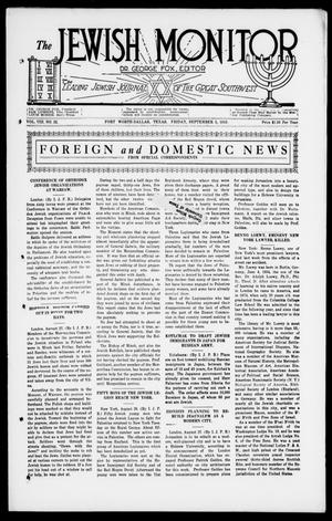 Primary view of The Jewish Monitor (Fort Worth-Dallas, Tex.), Vol. 8, No. 22, Ed. 1 Friday, September 5, 1919
