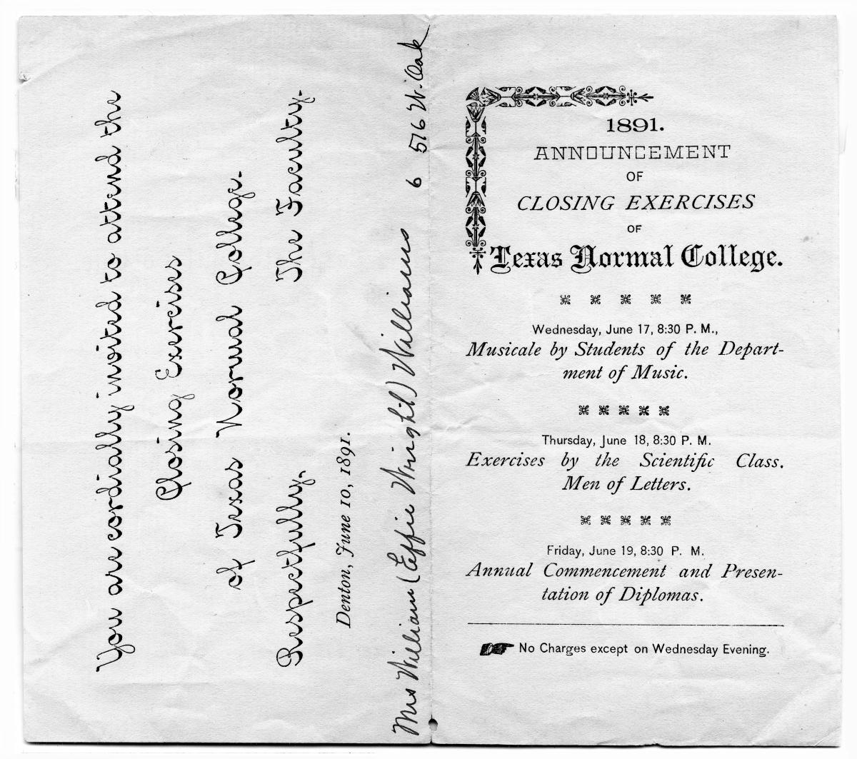 1891. Announcement of Closing Exercises of Texas Normal College                                                                                                      [Sequence #]: 1 of 1