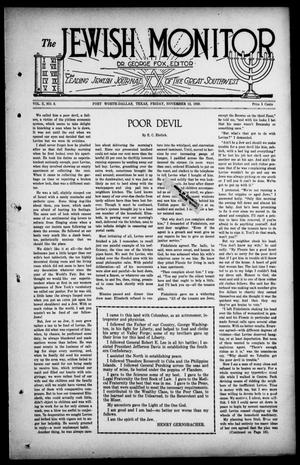 Primary view of object titled 'The Jewish Monitor (Fort Worth-Dallas, Tex.), Vol. 10, No. 8, Ed. 1 Friday, November 12, 1920'.