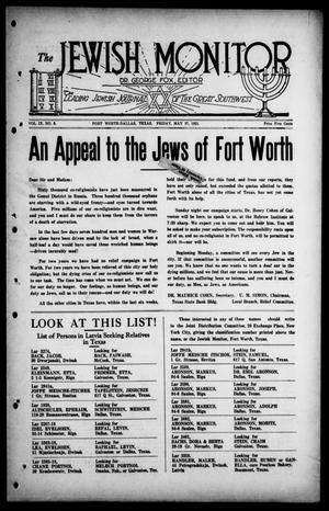 Primary view of object titled 'The Jewish Monitor (Fort Worth-Dallas, Tex.), Vol. 9, No. 6, Ed. 1 Friday, May 27, 1921'.