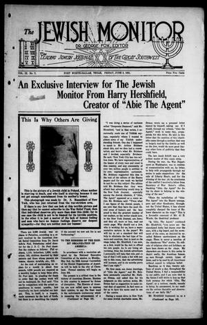 Primary view of object titled 'The Jewish Monitor (Fort Worth-Dallas, Tex.), Vol. 9, No. 7, Ed. 1 Friday, June 3, 1921'.