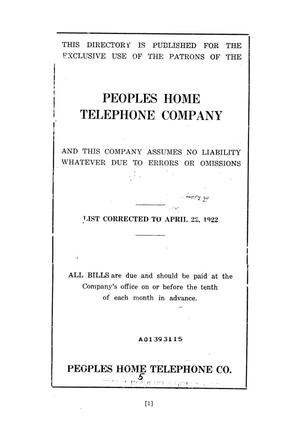 Primary view of object titled 'Peoples Home Telephone Company'.