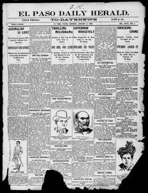 Primary view of El Paso Daily Herald. (El Paso, Tex.), Vol. 19, No. 1, Ed. 1 Monday, January 2, 1899