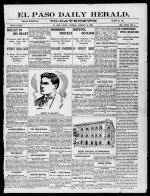 Primary view of object titled 'El Paso Daily Herald. (El Paso, Tex.), Vol. 19, No. 2, Ed. 1 Tuesday, January 3, 1899'.