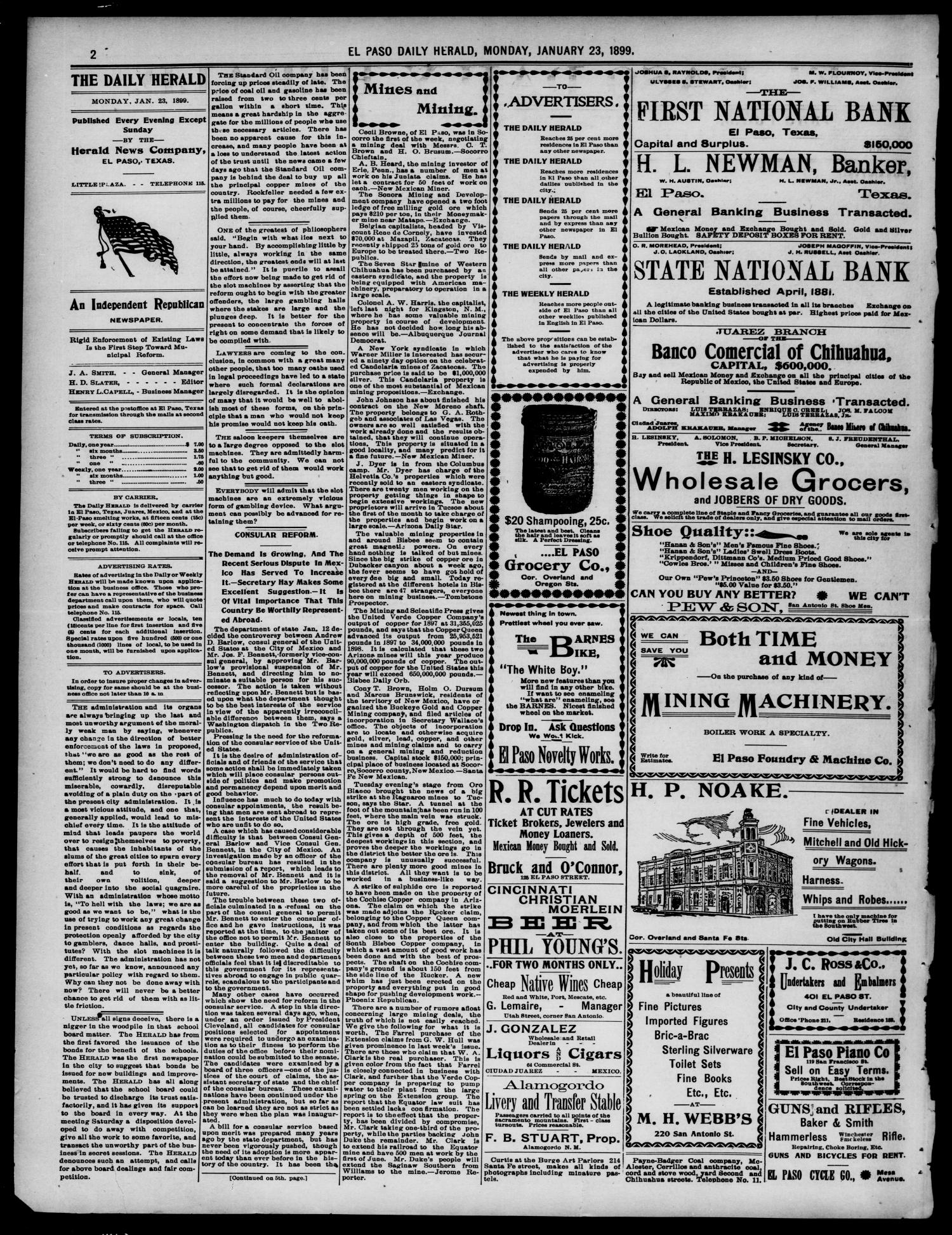 El Paso Daily Herald. (El Paso, Tex.), Vol. 19, No. 19, Ed. 1 Monday, January 23, 1899                                                                                                      [Sequence #]: 2 of 8