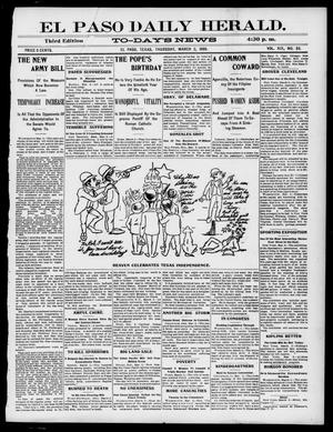 Primary view of object titled 'El Paso Daily Herald. (El Paso, Tex.), Vol. 19, No. 53, Ed. 1 Thursday, March 2, 1899'.