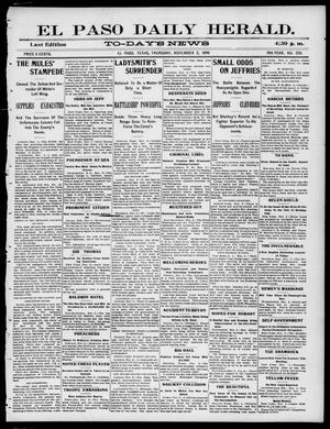 Primary view of El Paso Daily Herald. (El Paso, Tex.), Vol. 19TH YEAR, No. 258, Ed. 1 Thursday, November 2, 1899