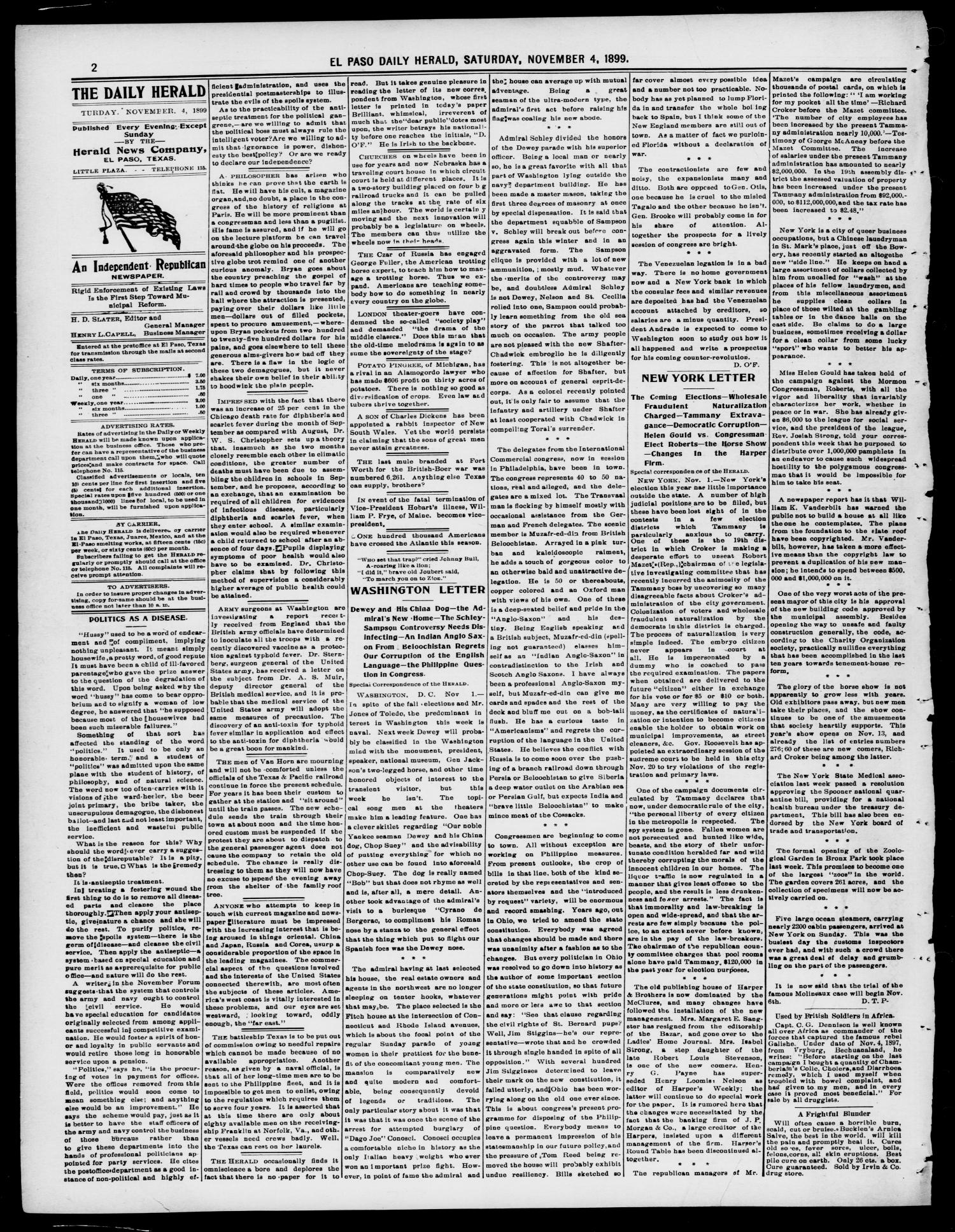 El Paso Daily Herald. (El Paso, Tex.), Vol. 19TH YEAR, No. 260, Ed. 1 Saturday, November 4, 1899                                                                                                      [Sequence #]: 2 of 12