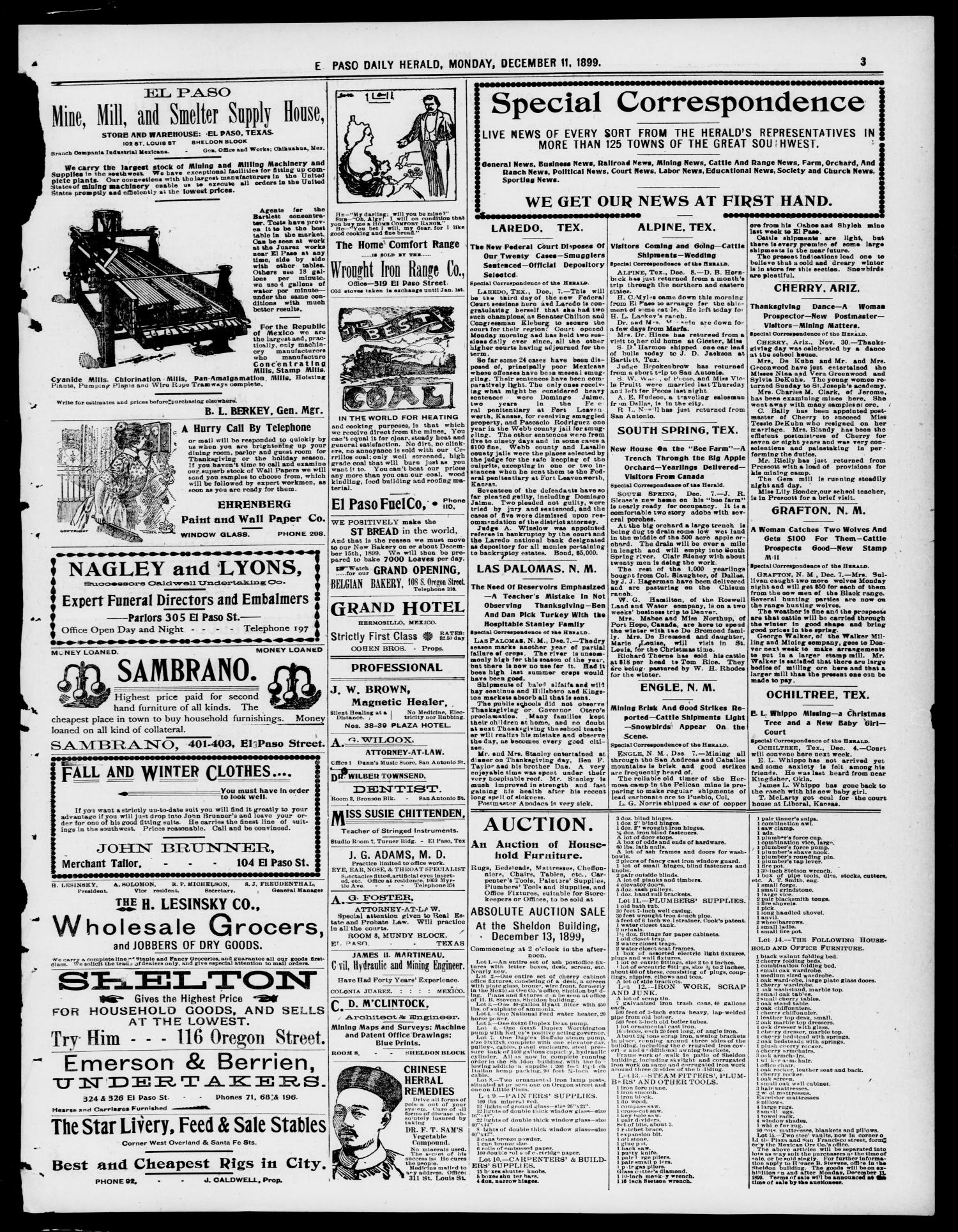 El Paso Daily Herald. (El Paso, Tex.), Vol. 19TH YEAR, No. 290, Ed. 1 Monday, December 11, 1899                                                                                                      [Sequence #]: 3 of 8
