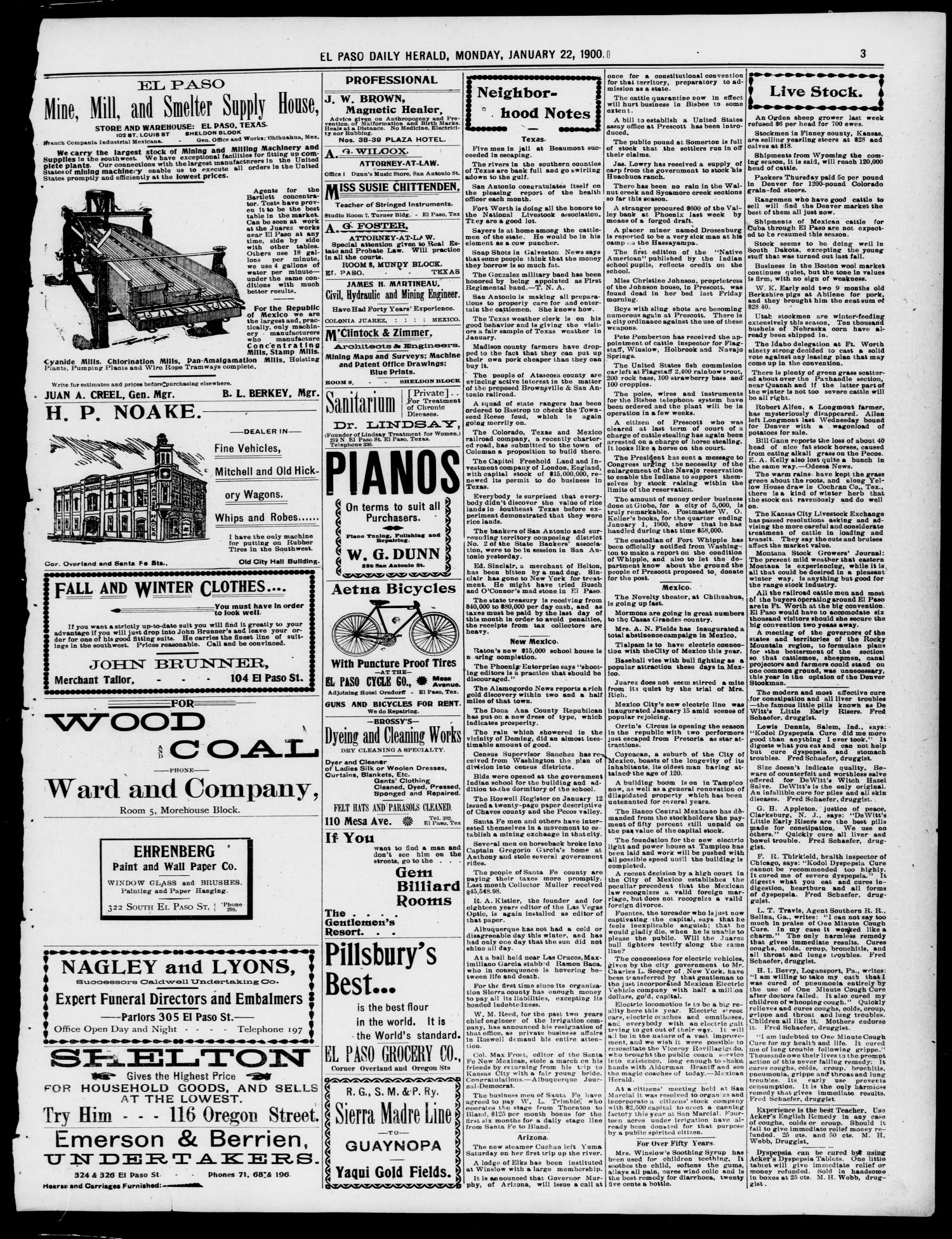 El Paso Daily Herald. (El Paso, Tex.), Vol. 20TH YEAR, No. 18, Ed. 1 Monday, January 22, 1900                                                                                                      [Sequence #]: 3 of 8