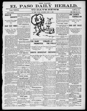 Primary view of object titled 'El Paso Daily Herald. (El Paso, Tex.), Vol. 20TH YEAR, No. 129, Ed. 1 Saturday, June 2, 1900'.