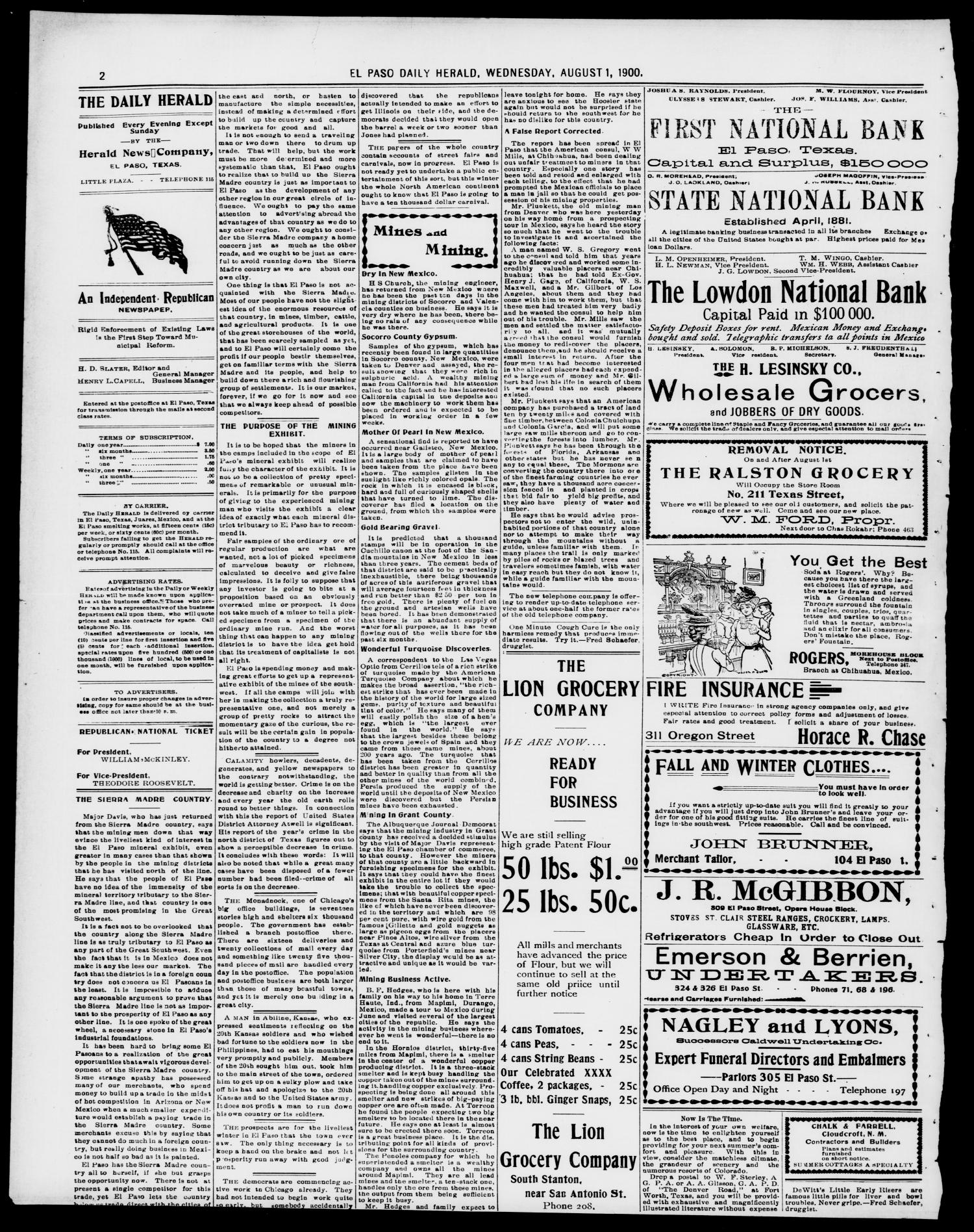 El Paso Daily Herald. (El Paso, Tex.), Vol. 20TH YEAR, No. 187, Ed. 1 Wednesday, August 1, 1900                                                                                                      [Sequence #]: 2 of 8