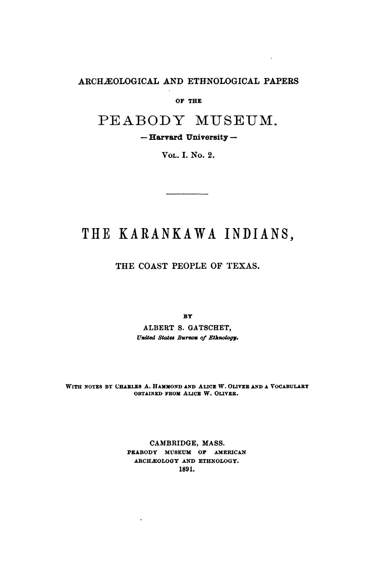 The Karankawa Indians, The Coast People of Texas.                                                                                                      Title Page