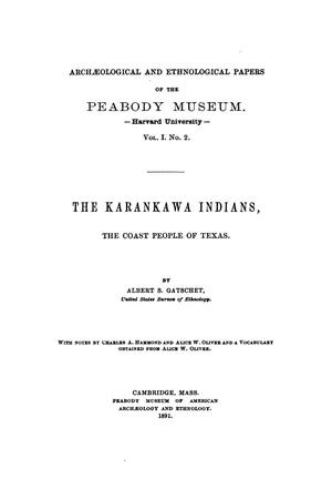 Primary view of object titled 'The Karankawa Indians, The Coast People of Texas.'.