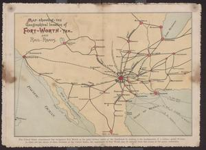 Primary view of object titled '[Map showing the geographical location of Fort Worth, Tex. and Rail Roads]'.