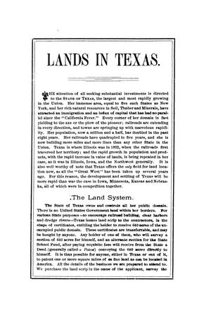 Primary view of object titled 'Lands in Texas'.