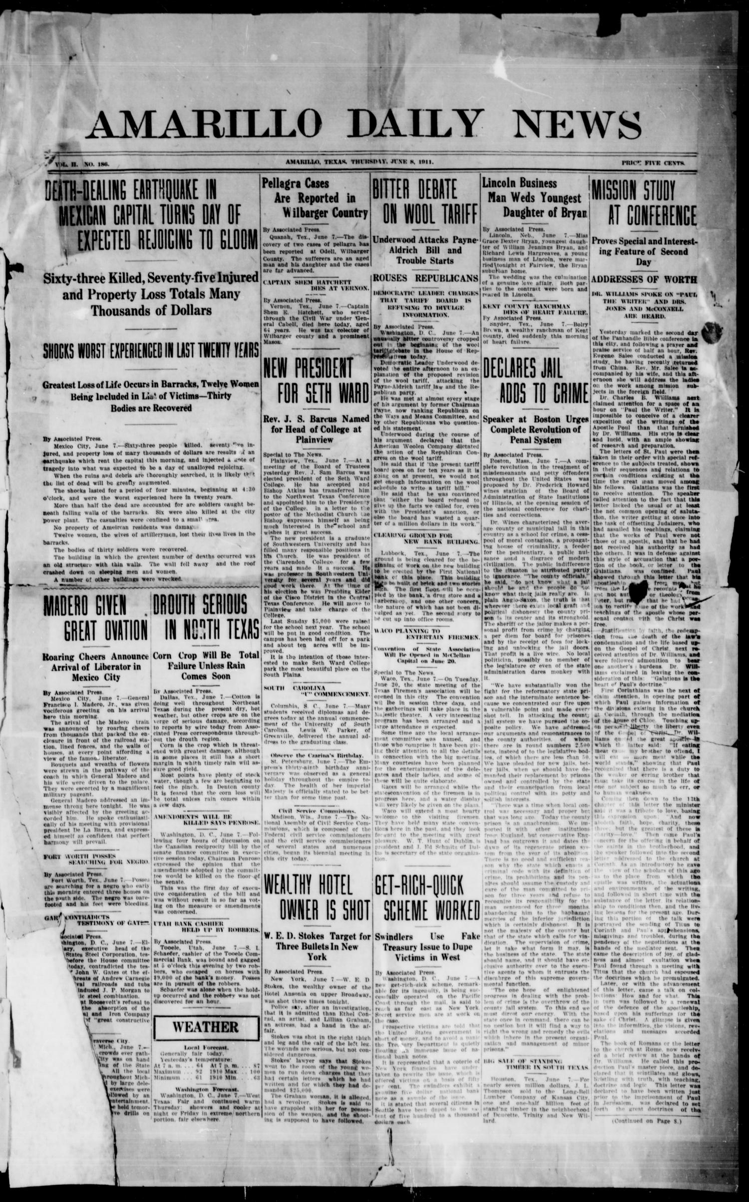 Amarillo Daily News (Amarillo, Tex.), Vol. 2, No. 186, Ed. 1 Thursday, June 8, 1911                                                                                                      [Sequence #]: 1 of 4