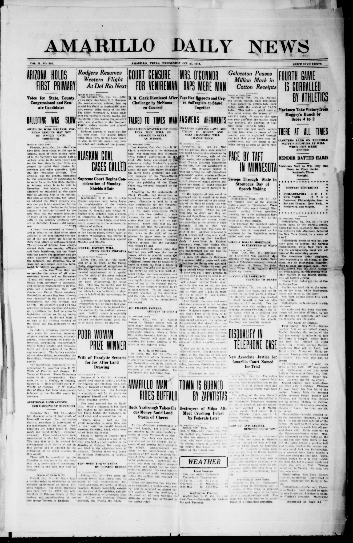 Amarillo Daily News (Amarillo, Tex.), Vol. 2, No. 305, Ed. 1 Wednesday, October 25, 1911                                                                                                      [Sequence #]: 1 of 8