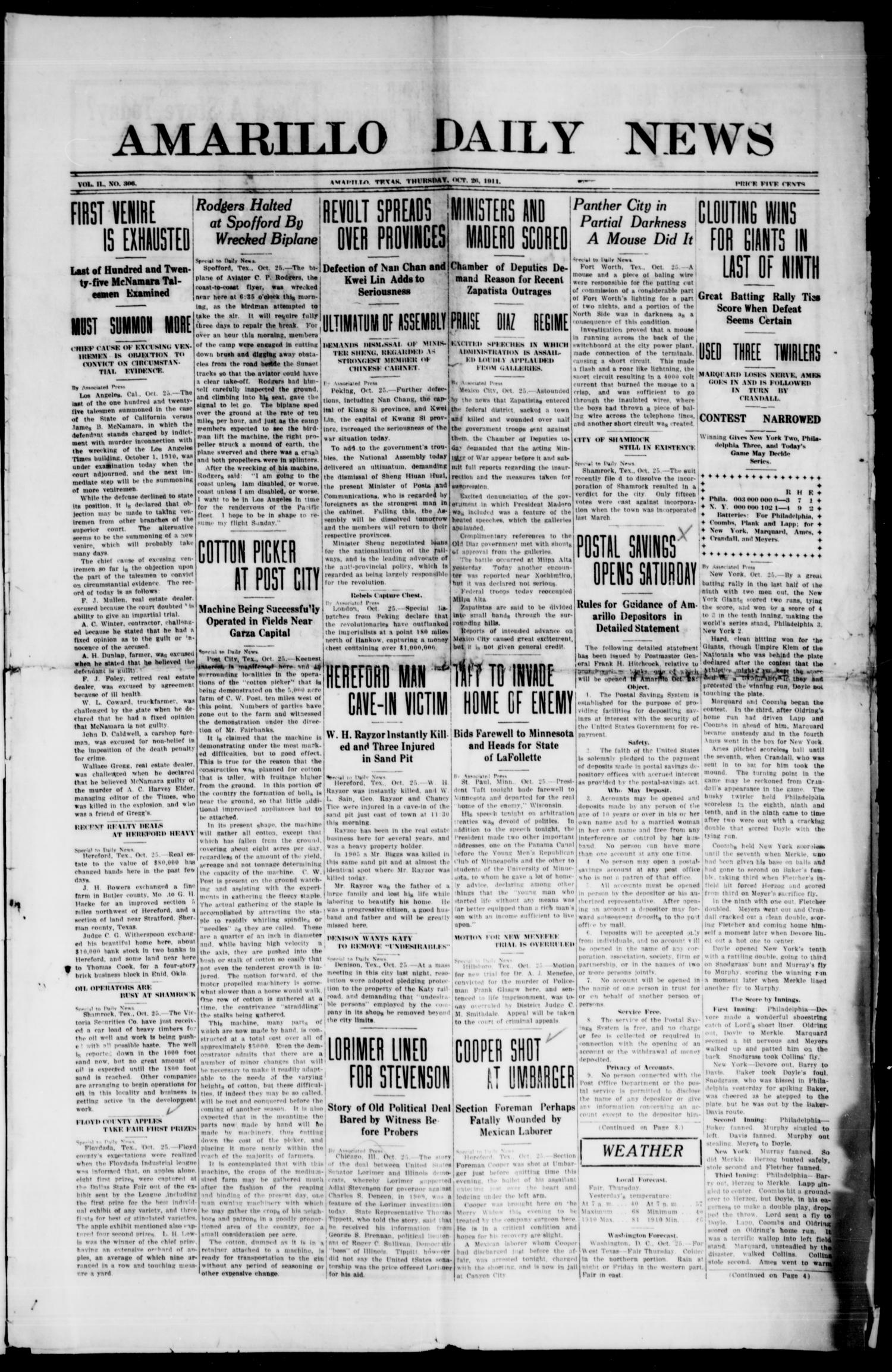 Amarillo Daily News (Amarillo, Tex.), Vol. 2, No. 306, Ed. 1 Thursday, October 26, 1911                                                                                                      [Sequence #]: 1 of 8