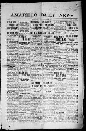 Primary view of object titled 'Amarillo Daily News (Amarillo, Tex.), Vol. 3, No. 16, Ed. 1 Wednesday, November 22, 1911'.