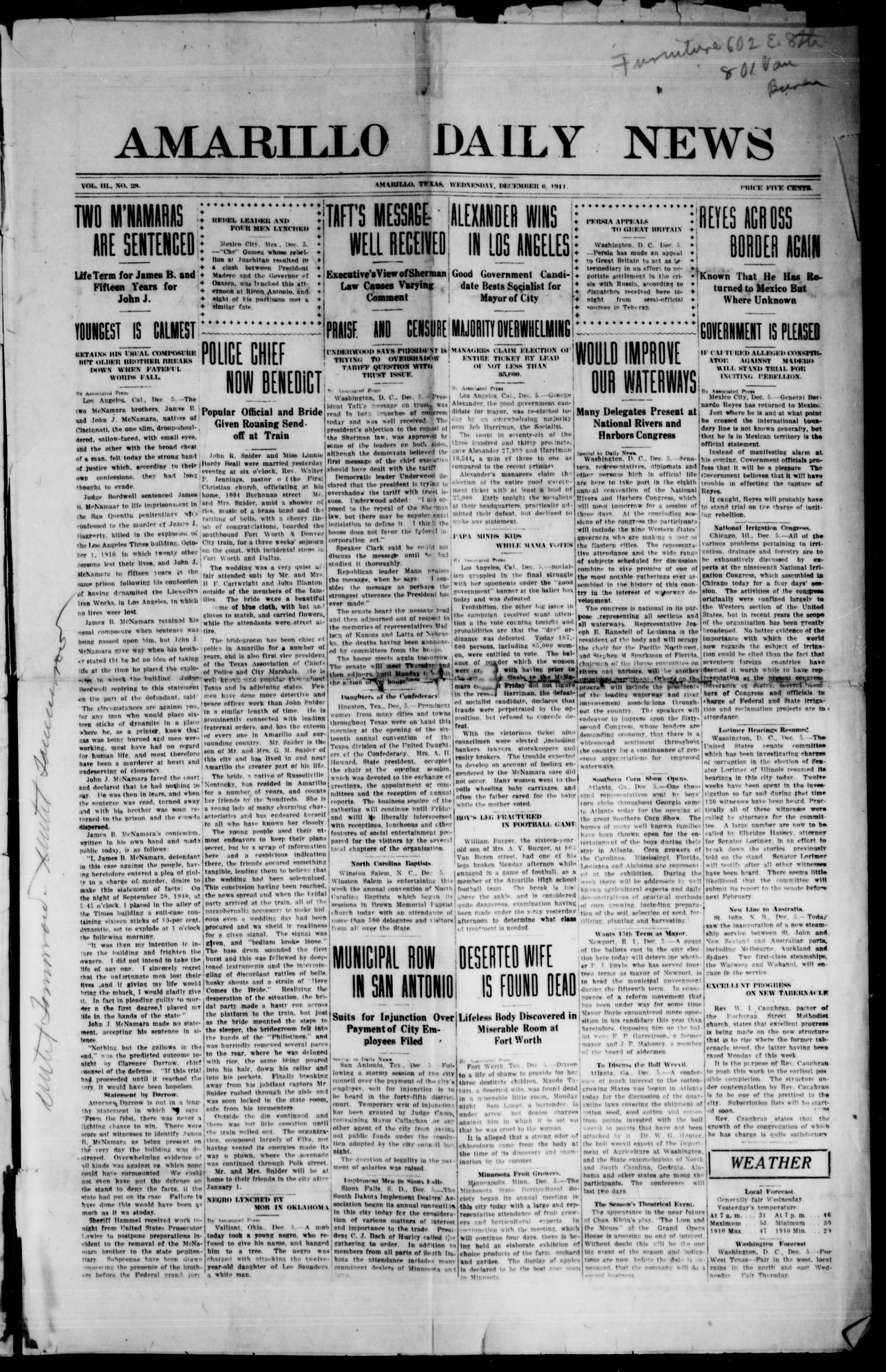 Amarillo Daily News (Amarillo, Tex.), Vol. 3, No. 28, Ed. 1 Wednesday, December 6, 1911                                                                                                      [Sequence #]: 1 of 8