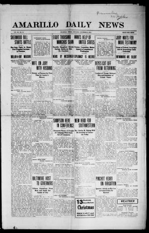Primary view of object titled 'Amarillo Daily News (Amarillo, Tex.), Vol. 3, No. 31, Ed. 1 Saturday, December 9, 1911'.