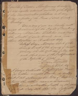 Primary view of object titled '[Handwritten Register of Marriages in Montgomery County, 1838 - 1840]'.