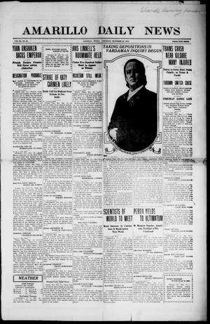 Primary view of object titled 'Amarillo Daily News (Amarillo, Tex.), Vol. 3, No. 43, Ed. 1 Saturday, December 23, 1911'.
