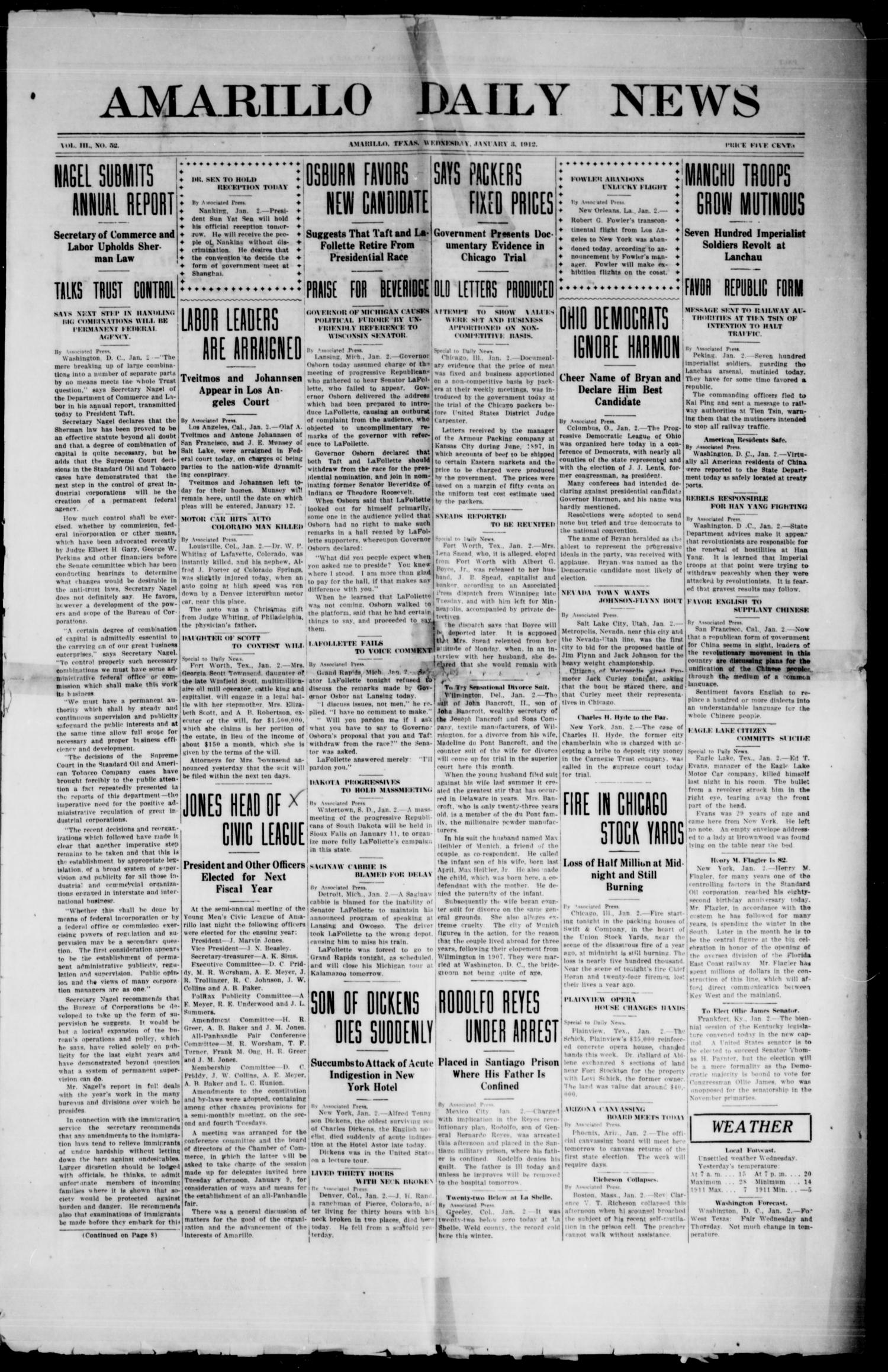 Amarillo Daily News (Amarillo, Tex.), Vol. 3, No. 52, Ed. 1 Wednesday, January 3, 1912                                                                                                      [Sequence #]: 1 of 8
