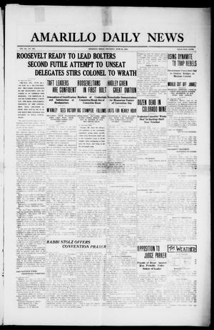 Primary view of object titled 'Amarillo Daily News (Amarillo, Tex.), Vol. 3, No. 197, Ed. 1 Thursday, June 20, 1912'.